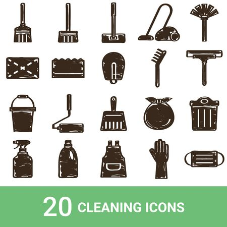 Product Icon Cleaning Tools Handwriting 20 Sets  イラスト・ベクター素材