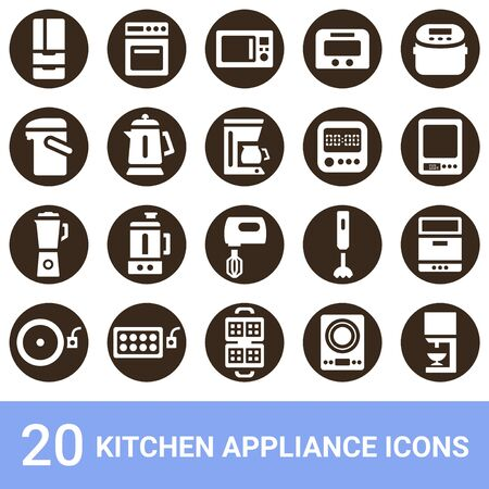 Product Icon Kitchen Appliances White 20 Sets 版權商用圖片 - 135843812