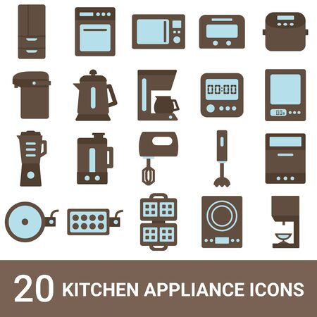 Product Icon Kitchen Appliances Color 20 Sets