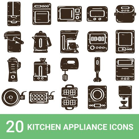 Product Icon Kitchen Appliances Handwriting 20 Sets