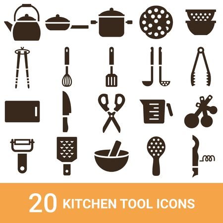 Product Icon Kitchen Tool Silhouette 20 Sets