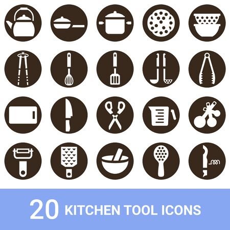 Product Icon Kitchen Tool White 20 Sets 写真素材 - 136357971