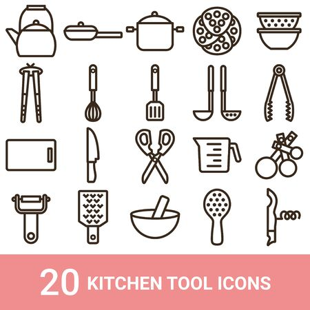 Product Icon Kitchen Tool Line 20 Sets 向量圖像