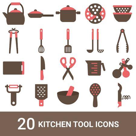 Produktsymbol Küchenutensilien Farbe 20 Sets Vektorgrafik