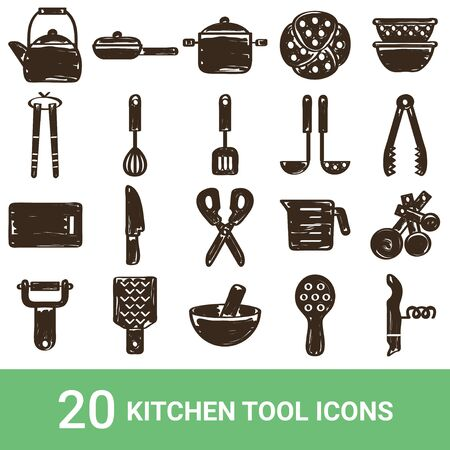 Product Icon Kitchen Tools Handwriting 20 Sets