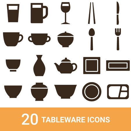 Product Icon Tableware Silhouette 20 Sets