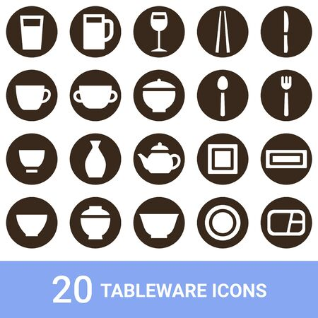 Product Icon Tableware White 20 sets
