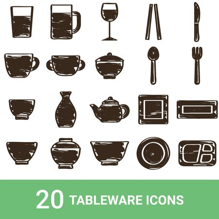 Product Icon Tableware Handwriting 20 Sets 写真素材 - 138769392