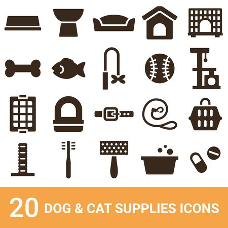Product Icon Dog Supplies Cat Supplies Silhouette 20 Sets