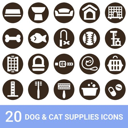 Product Icon Dog Supplies Cat Supplies White 20 Sets