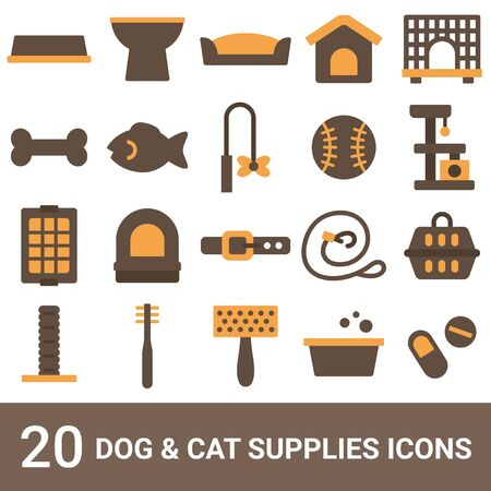 Product Icon Dog Supplies Cat Supplies Color 20 Sets