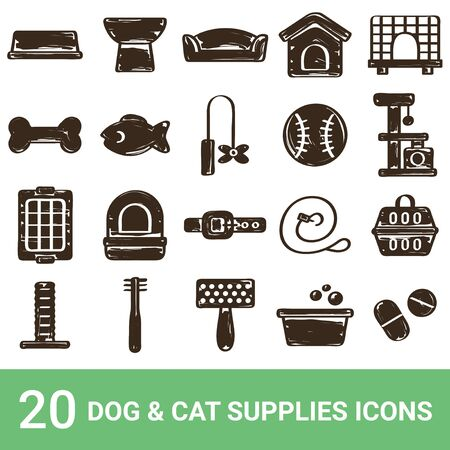Product Icon Dog Supplies Cat Supplies Handwriting 20 Sets 写真素材 - 139370222