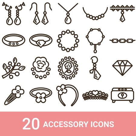 Product Icon Accessory Line 20 Sets  イラスト・ベクター素材
