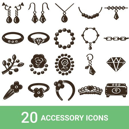 Product Icon Accessories Handwriting 20 Sets 写真素材 - 140398209