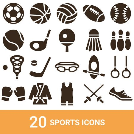 Product Icon Sports Silhouette 20 Sets 写真素材 - 140672207