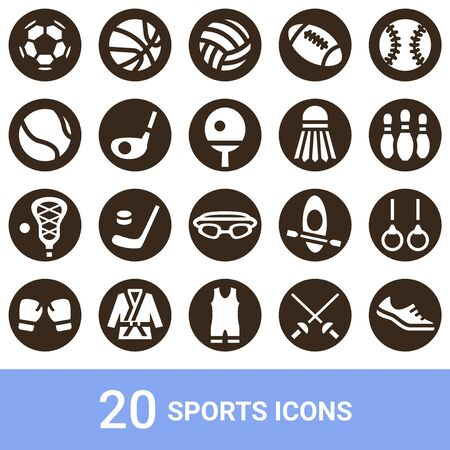 Product Icon Sports White 20 Sets  イラスト・ベクター素材