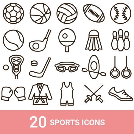 Product Icon Sports Line 20 Sets 写真素材 - 142221244