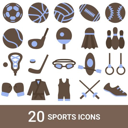 Product Icon Sports Color 20 Sets 写真素材 - 142221228