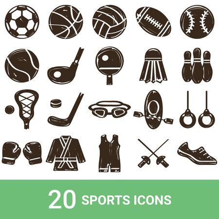 Product Icon Sports Handwriting 20 Sets  イラスト・ベクター素材