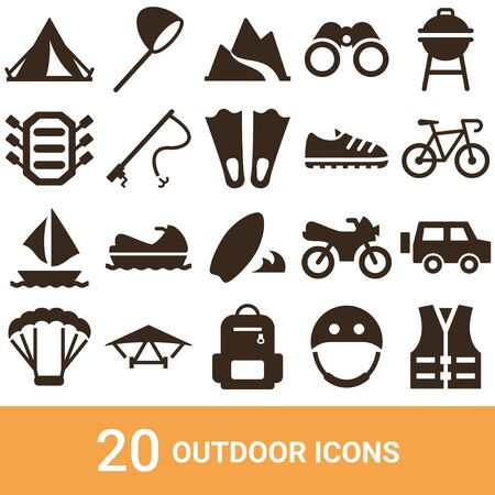 Product Icon Outdoor Silhouette 20 sets Illustration