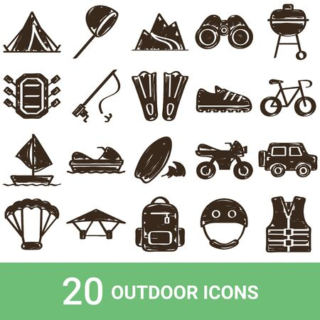 Product Icon Outdoor Handwriting 20 Sets  イラスト・ベクター素材