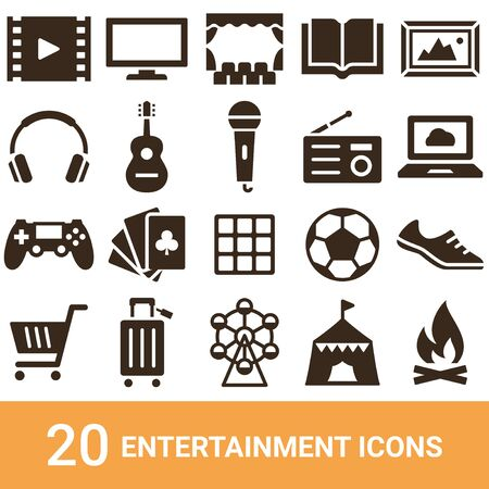 Product Icon Entertainment Silhouette 20 sets  イラスト・ベクター素材