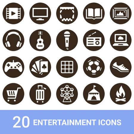 Product Icon Entertainment White 20 Sets 写真素材 - 143762890