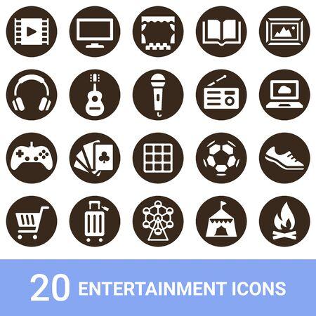Product Icon Entertainment White 20 Sets Illustration
