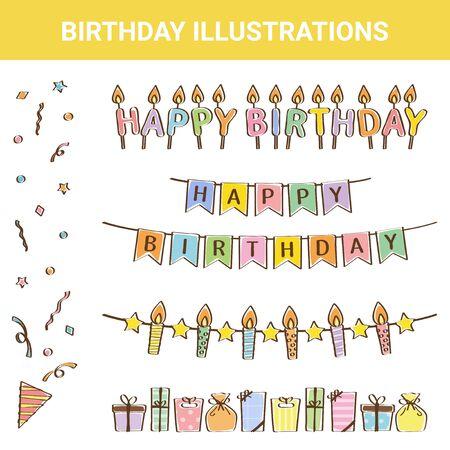 Festive Material Birthday Illustration Set