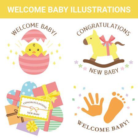 Festive Material Maternity Celebration Illustration Set