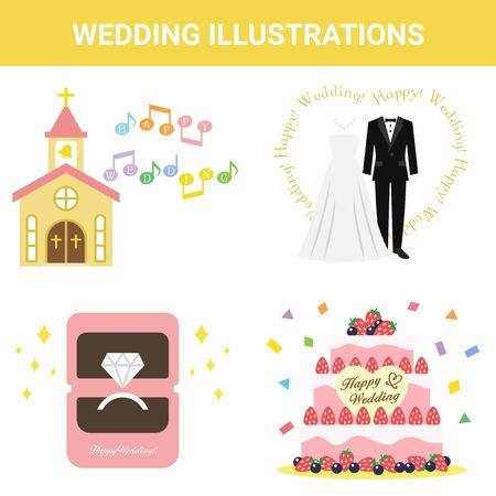 Festive Material Wedding Illustration Set
