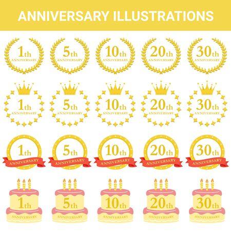 Festive Material Anniversary Illustration Set Illustration