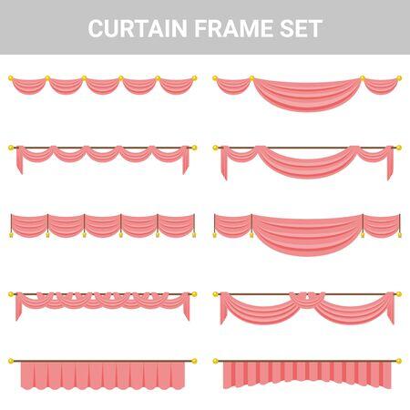 Decorative material curtain frame set Illustration