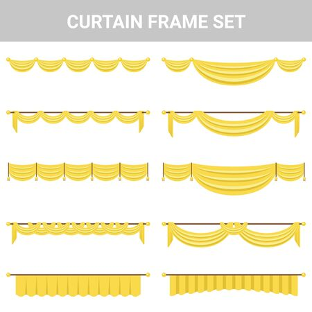 Decorative material curtain frame set Stock Illustratie