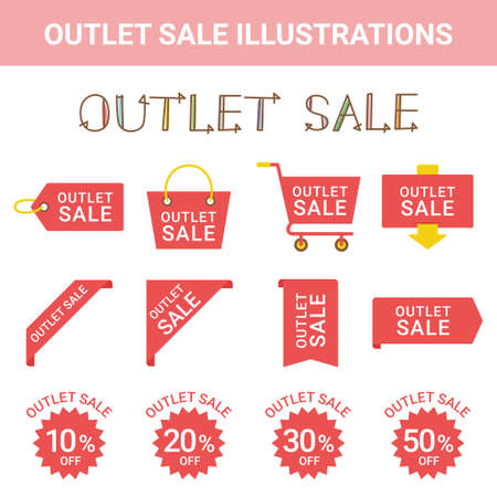 Sale Outlet Illustration Set Stock Illustratie