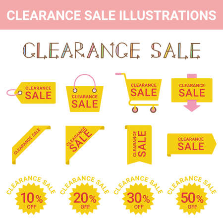 Sale Clearance Sale Illustration Set 写真素材 - 151045507