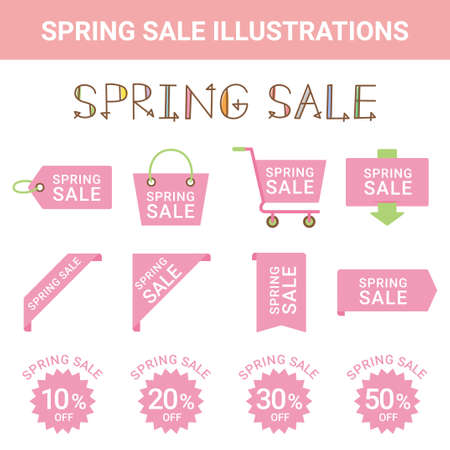 Sale Spring Sale Illustration Set Stock Illustratie