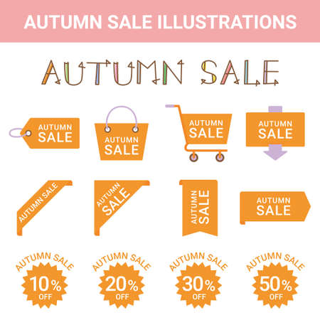 Sale Autumn Sale Illustration Set Stock Illustratie