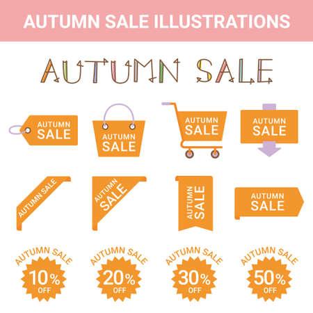 Sale Autumn Sale Illustration Set Illustration