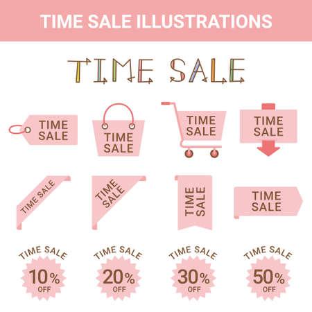 Sale Time Sale Illustration Set