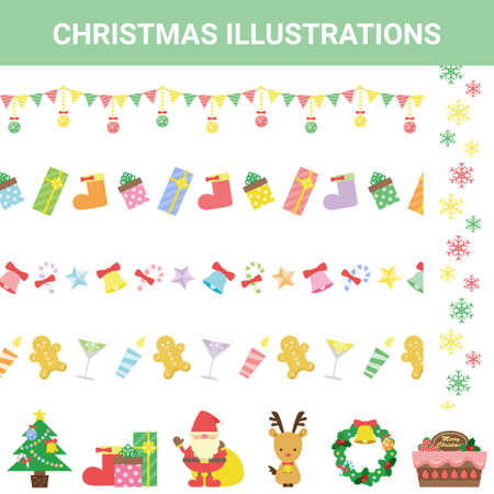 Annual event Christmas illustration set Stock Illustratie