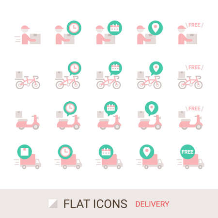 EC Site Icon Shopping Guide Delivery Flat Icon Stock Illustratie
