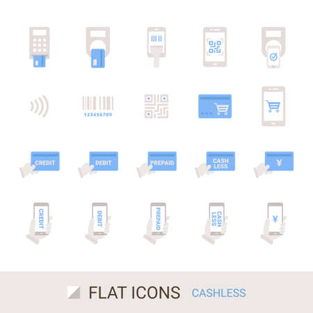 EC Site Icon Shopping Guide Cashless Payment Flat Icon