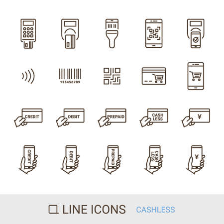 EC Site Icon Shopping Guide Cashless Payment Line Icon Stock Illustratie