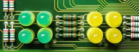 leds: The printed circuit-board with leds