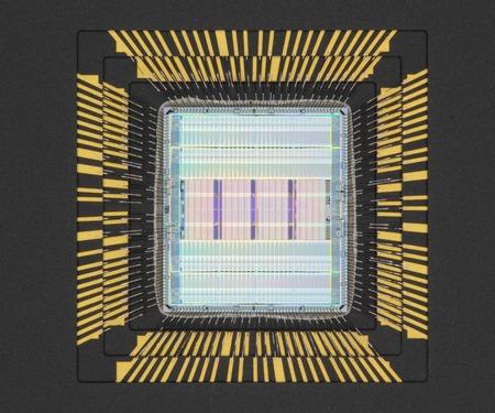 silicon: Closeup of semiconductor microprocessor silicon chip Stock Photo