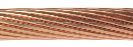 cleared: The cleared copper electric power cables with connectors Stock Photo