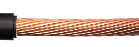 power cables: The cleared copper electric power cables with connectors Stock Photo
