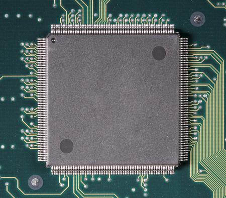 silicio: Primer plano de chip de silicio semiconductor Foto de archivo