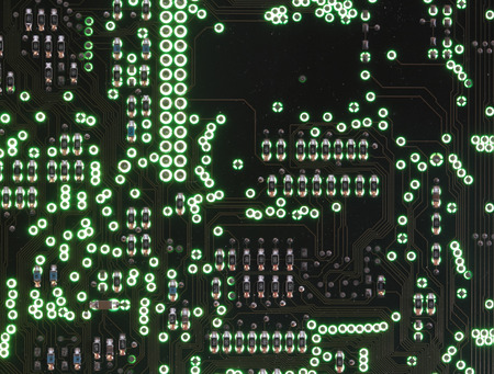 circuitboard: The green printed circuit-board Stock Photo